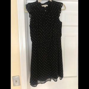 LOFT black and gold polka dot dress